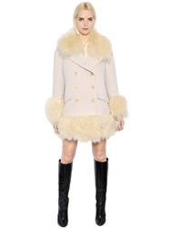 Sonia Rykiel Mongolian Fur And Wool Crepe Peacoat