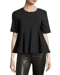 Opening Ceremony Penn Twill Flare Short Sleeve Top Black