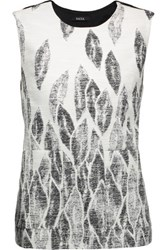 Raoul Split Back Printed Cotton Blend Top Ivory