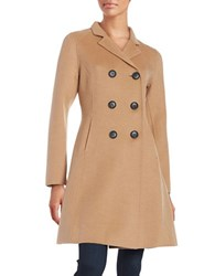 Bcbgmaxazria Wool Blend Double Breasted Trench Coat Camel