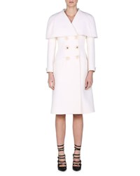 Fendi Floral Double Breasted Capelet Coat Milk White