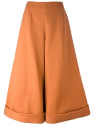 Delpozo Wide Legged Cropped Trousers Yellow And Orange