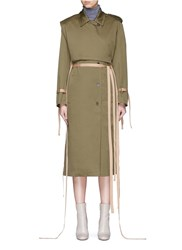 Ports 1961 Layered Cotton Gabardine Trench Coat Green