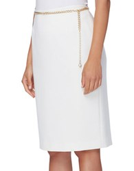 Tahari By Arthur S. Levine Petite Faux Pearl Accented Belted Pencil Skirt Cloud
