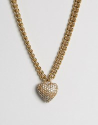 Juicy Couture Champagne Ombre Heart And Chain Necklace Champagne Gold