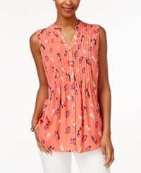 Charter Club Butterfly Print Blouse Only At Macy's Modern Coral