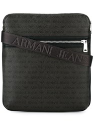 Armani Jeans Front Zipped Messenger Bag Brown