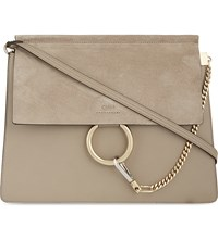 Chloe Faye Leather And Suede Satchel Motty Grey