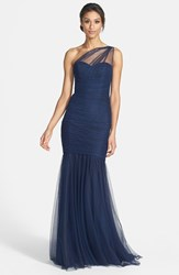 Women's Amsale One Shoulder Tulle Mermaid Gown Navy