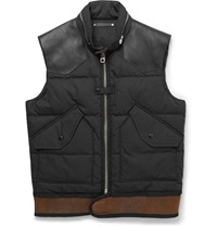 Coach Leather And Shearling Trimmed Down Filled Shell Gilet Black
