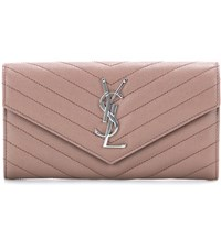 Saint Laurent Monogram Quilted Leather Wallet Neutrals