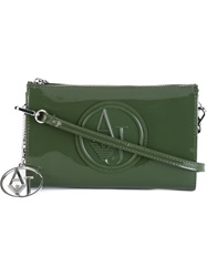 Armani Jeans Embossed Logo Clutch Green