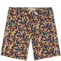 Folk Leaf Print Drawcord Short Multi