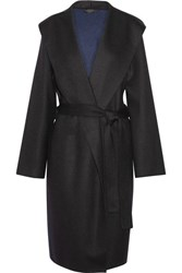 The Row Marney Hooded Felted Wool Blend Coat Black