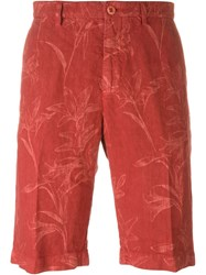 Etro Floral Print Shorts Red