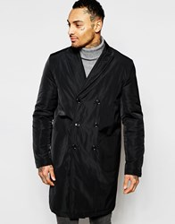 Asos Overcoat With Double Breast Styling In Black Black