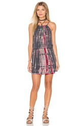 Michael Stars Naomi Wash Tie Dye Halter Tank Dress Gray