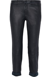 Vince Leather Skinny Pants Blue