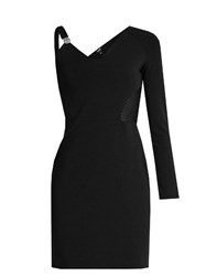 Versus By Versace Asymmetric Sleeve Contrast Panel Mini Dress Black