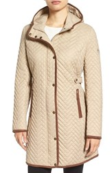 Larry Levine Women's Quilted Hooded Coat With Faux Suede Trim Khaki