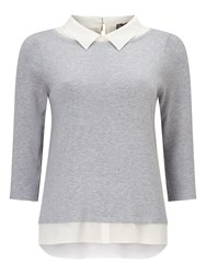 Phase Eight Suzetta Silk Shirt Knit Top Grey
