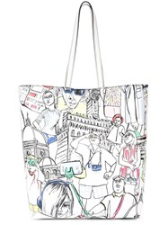 Emilio Pucci Tourist Print Shopping Tote White