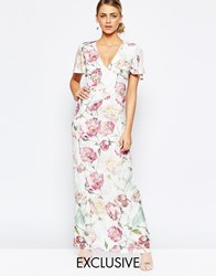 Hope And Ivy Maxi Dress In Vintage Floral Print Llilac Multi