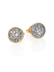 Plev Ice Diamond And 18K Yellow Gold Button Earrings