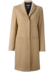 Msgm Cat Patch Detail Coat Nude And Neutrals