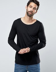 Asos Long Sleeve T Shirt With Boat Neck In Black Black