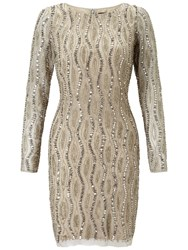 Adrianna Papell Long Sleeve Beaded Cocktail Dress Silver Nude