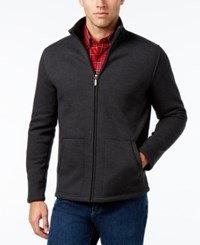Club Room Men's Herringbone Fleece Jacket Only At Macy's Deep Black