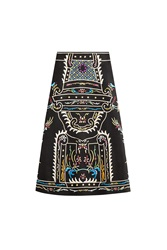 Valentino Embroidered Virgin Wool Skirt Multicolor