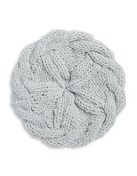 Collection 18 Cableknit And Ball Trimmed Knit Beret Grey