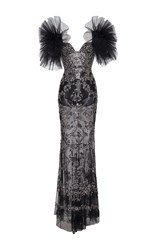 Zuhair Murad Long Fully Embroidered Tulle Dress With Pleated Puff Sleeves Black