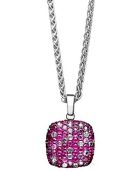 Effy Collection Balissima By Effy Pink Sapphire 1 5 8 Ct. T.W. And Ruby 1 5 8 Ct. T.W. Square Pendant In Sterling Silver