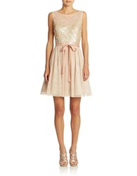 Hailey Logan Sequined Fit And Flare Gown Nude