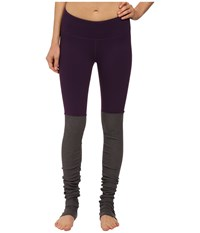 Alo Yoga Goddess Ribbed Legging Purple Pennant Stormy Heather Women's Workout Brown