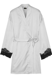 Cosabella Lace Trimmed Satin Robe Light Gray