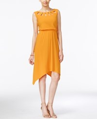 Ny Collection Lattice Neck Handkerchief Hem Dress Cadmium Yellow