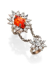 Dannijo Nicola Crystal Chain Statement Ring Silver Amber