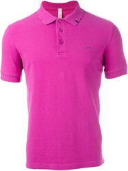 Sun 68 Distressed Polo Shirt Pink And Purple