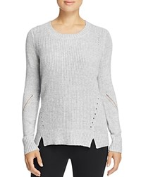T Tahari Shay Notched Pointelle Sweater Frost White