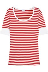 Frame Denim Le Boatneck Striped Stretch Cotton Jersey T Shirt Red