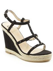 Daniel Deighton T Bar Studded Wedge Sandals Black
