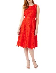 Phase Eight Blima Fit And Flare Floral Cutout Sleeveless Dress Paprika