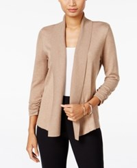Jm Collection Ruched Open Front Cardigan Only At Macy's Acorn Heather