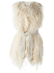 Twin Set Ostrich Feather Vest Nude And Neutrals