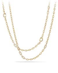 David Yurman Convertible Chain Necklace Bracelet With Diamonds In 18K Yellow Gold