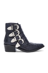 Toga Pulla Snakeskin Embossed Buckle Booties In Blue Animal Print